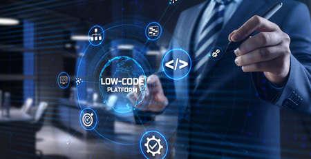 Low Code software development platform technology concept Foto de archivo