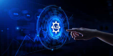 Industry 4.0 Smart manufacturing lean business innovation technology concept. Hand pressing button Banco de Imagens