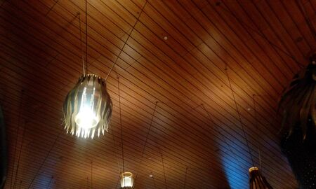 Wooden Ceiling finishes view in an international airport Gate for boarding passengers 写真素材