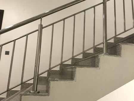 Fire Emergency staircase Single Flight images which includes Waist concrete slab tread riser finished by granite and Stainless steel hand rail in slope
