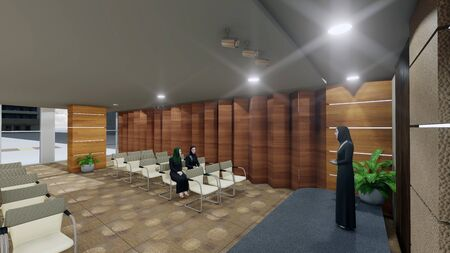 Rendered 3D image of an Seminar hall while presentation being given by an staff arab lady in an multipurpose hall with interior architectural design Foto de archivo