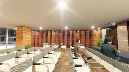 Three dimensional architectural drawing of an Seminar or Meeting conference hall with animation arab ladies and gentlemen