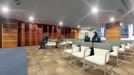 Rendered 3D image of an Seminar hall while presentation being given by an staff arab lady in an multipurpose hall with interior architectural design