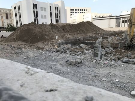 Building Demolished fully into small pieces and debris are ready to disposal from the location of Center of the city