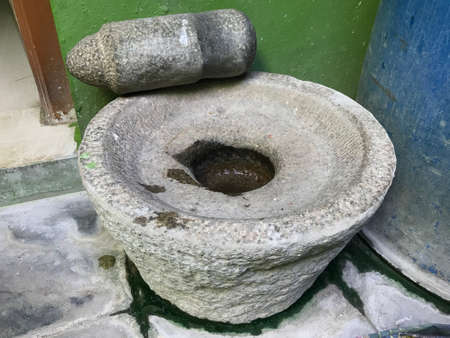handmade Stone Grindstones ll be used in indian village kitchen area for grinding spices and vegetables for tasty food preparation Stock fotó