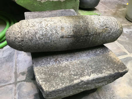 handmade Stone Grindstones ll be used in indian village kitchen area for grinding spices and vegetables for tasty food preparation