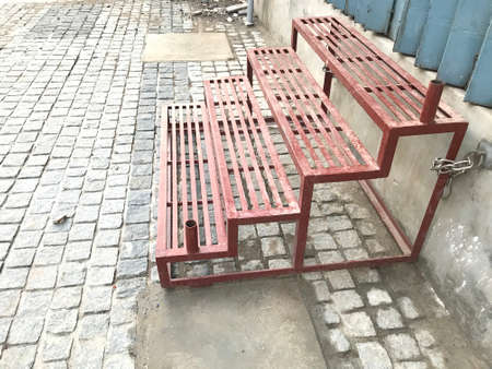 prefabricated structural steel staircase using channels angles and frames of galvanized steel which properly welded used as temporary steps