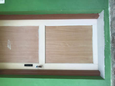 laminated flush door with wooden frame for an room of an residential building or toilet