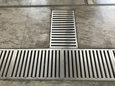 Stainless steel power coated or fabricated Floor Drain longitudinal Gratings at metro station floor marble flooring for T Junction