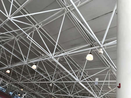 Oil painted pipes of truss for an commercial or public transport airport and railway building structural steel roof truss ceiling architecture