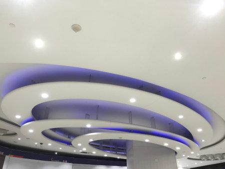 Blue arc Circle or curve gypsum decorative false ceiling interiors for an international airport 版權商用圖片