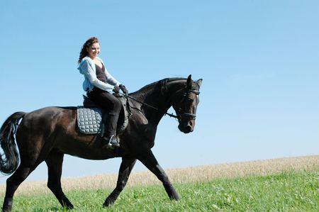 woman horse: Equestrienne rides on the hillside. Hanoverian.