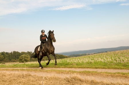 Equestrienne  rides at a gallop on a brown horse. photo