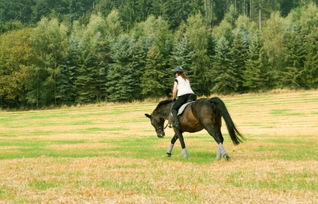 Equestrienne rides at a gallop across the field   photo