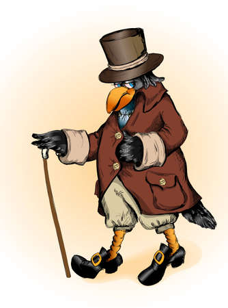 frock coat: Fantastic raven in a frock coat and the cylinder