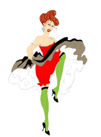 cabaret dancer dances cancan Illustration
