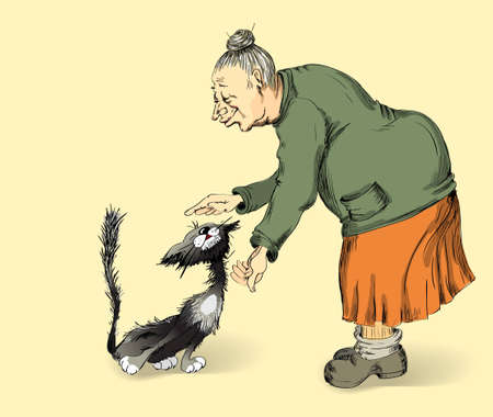 old people smiling: grandmother with affection irons a cat