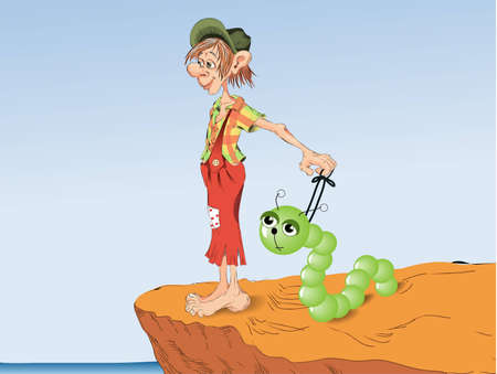 tame: gnome with the tame caterpillar looks at the sea Illustration