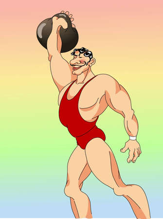circus athlete raises the weight Vector