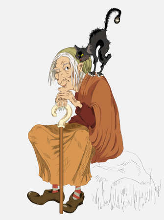 old witch with a cat on his shoulder Illustration