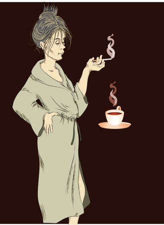 disheveled: woman at home drinks coffee