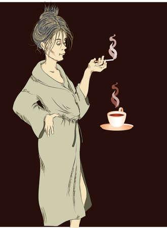 bathrobe: woman at home drinks coffee