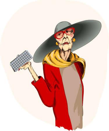 elegancka starsza kobieta jest w dużym kapeluszu Ilustracje wektorowe