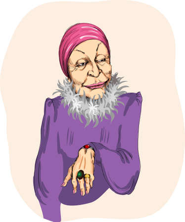 elderly woman, dressed brightly and fashionable Illustration