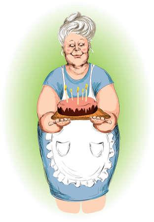 fartuch: babcia rodzaj z tortu Ilustracja