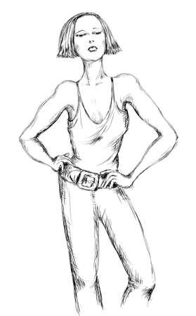 cuttings: sporting girl short-haired Illustration