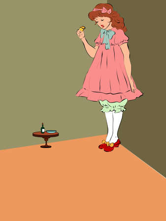Alice grew after she ate a magic pie Illustration