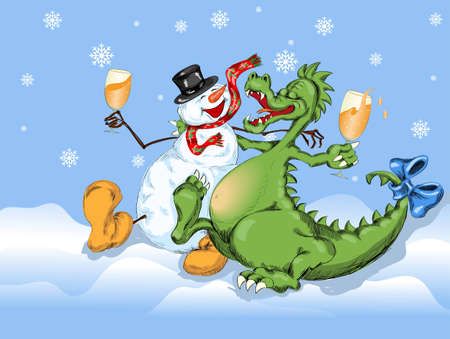 merry dragon and snow man celebrate New Year Vector