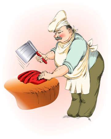 slager hakt vlees een groot mes Vector Illustratie
