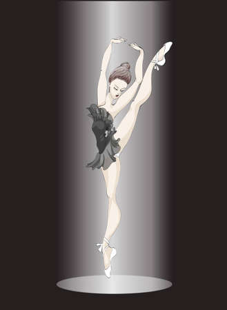 little ballet-dancer is in the ray of light Illustration