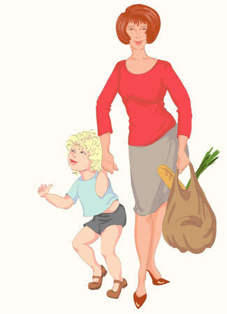 merrily: mother with a son and bag with a meal Illustration