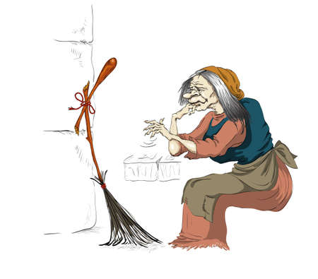 grey hair: broom broke for a witch Illustration