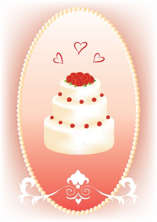 wedding reception decoration: Wedding cake with roses in a frame Illustration