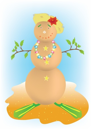 Snowman on his summer vacation Vector