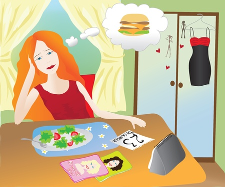 Girl eating healthy food thinking of junk food Vector