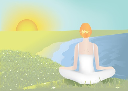mujer meditando: Mujer joven meditando en posici�n de loto