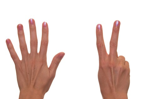 The figure Seven shown by fingers photo