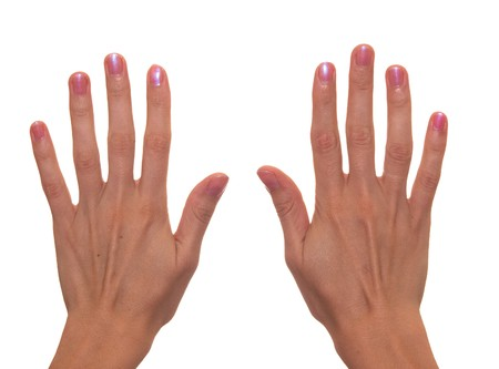The figure Ten shown by fingers photo