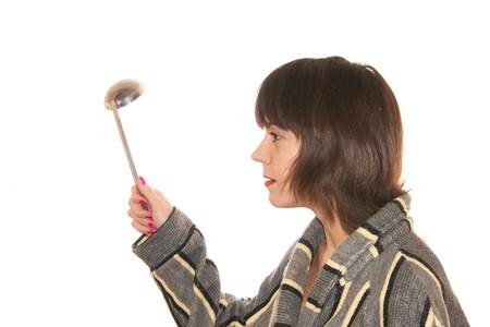 choleric: Headshot of housewife on the white background