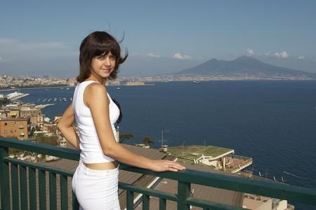 seacoast: Beautiful woman on seacoast