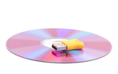 Compact disc over white background photo