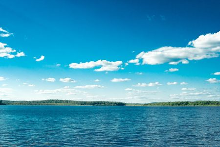 Beautiful rural landscape wit blue sky and river Stock Photo - 6895557
