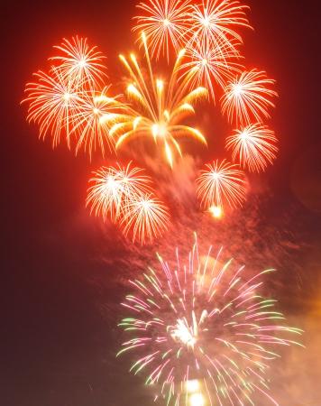 holyday: Beautiful fireworks on the sky, sunset, holyday