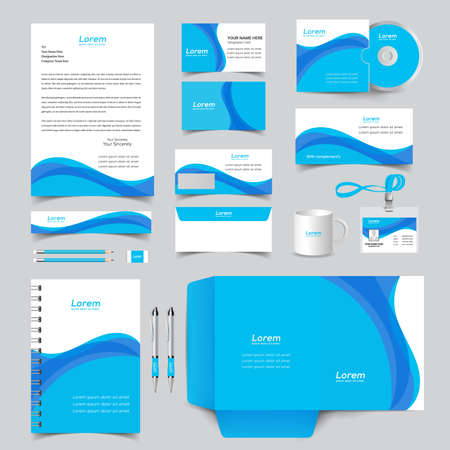 corporate identity template with digital elements. Vector company style for brand book and guideline. Ilustracja