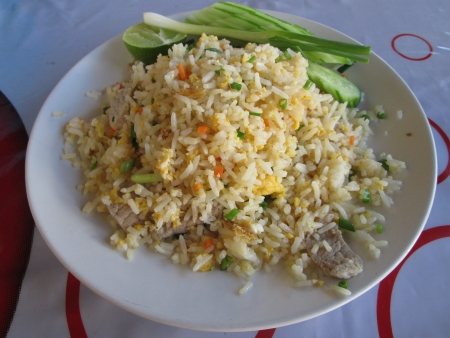 white dish fire rice and vegetables  Stock Photo