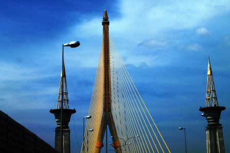 Rama VIII bridge with blue sky in Bangkok, Thailand  Stock Photo